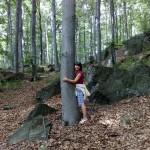 Kobieta tuląca drzewo