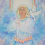 Obraz anioła z gołębiem na ramieniu