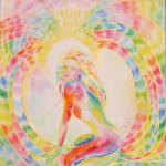 Obraz kobiety otoczonej tęczową aurą